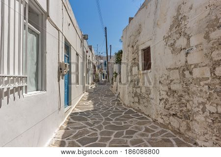 Typical street in town of Naoussa, Paros island, Cyclades, Greece
