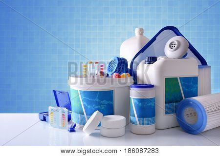 Chemical Cleaning Products For Pool With Blue Mosaic Background Overview