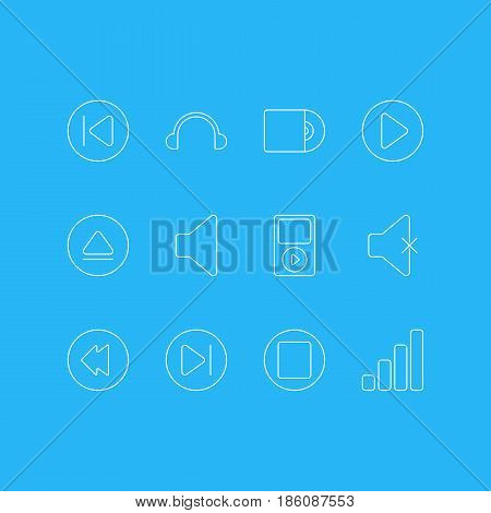 Vector Illustration Of 12 Melody Icons. Editable Pack Of Mp3, Preceding, Rewind And Other Elements.