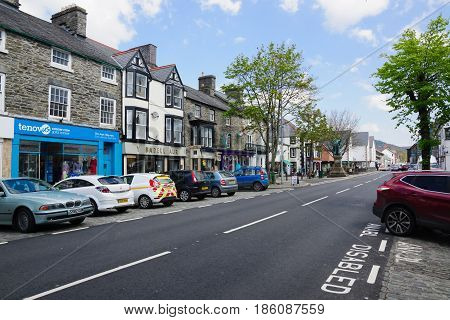 Bala Wales UK - May 3 2017: The high street in Bala a market town in the county of Gwynedd with a traditional Welsh speaking population and roots dated to Roman times