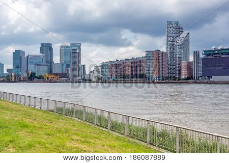 LONDON, ENGLAND - JUNE 17 2016: Canary Wharf view from Greenwich, London, England, Great Britain