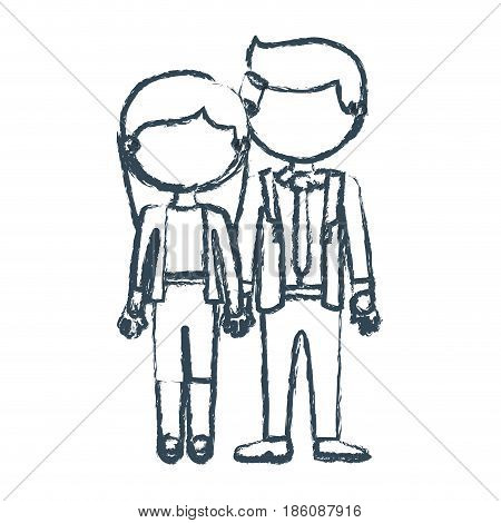 blurred blue contour faceless couple woman with long hair with man in formal style and taken hands vector illustration