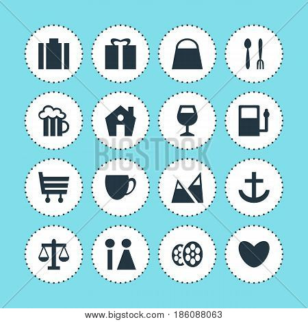 Vector Illustration Of 16 Check-In Icons. Editable Pack Of Film, Home, Present And Other Elements.
