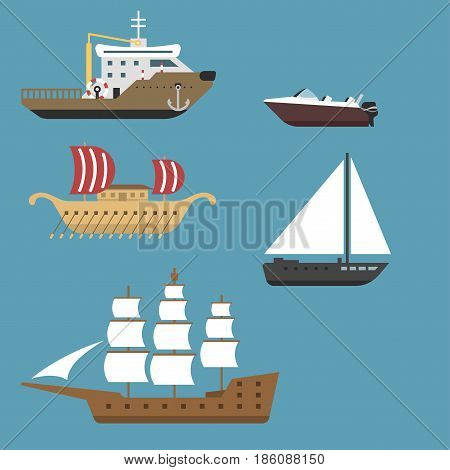 Ship boat sea symbol vessel travel industry vector sailboats cruise. Set of marine icon commercial design element. Export business trade water cargo transportation.