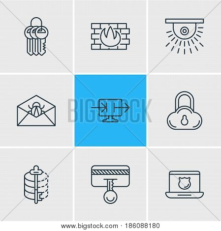 Vector Illustration Of 9 Privacy Icons. Editable Pack Of Encoder, Camera, Data Security And Other Elements.