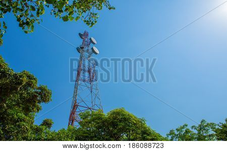 Mobile phone communication antenna tower with blue sky background and tree Telecommunication tower.