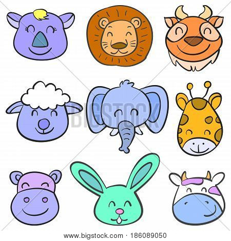 Vector art animal head colorful doodles collection stock