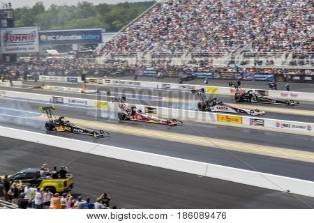 April 29, 2017 - Concord, North Carolina, USA: The Mellow Yellow teams take to the track for the Four Wide Nationals at ZMax Dragway in Concord, North Carolina.