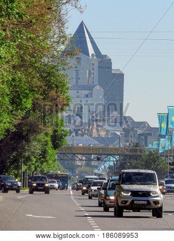 ALMATY KAZAKHSTAN - MAY 12 2017: View from Al-Farabi avenue it is one of the main roads in the city of Almaty