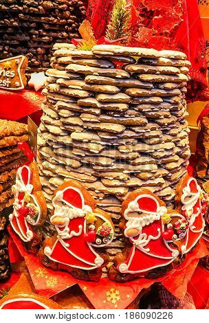 AACHEN, GERMANY-DECEMBER 15, 2014: Aachener Printen- Lebkuchen are similar to gingerbread, originally sweetened with honey, but for two centuries the tradition is to use a syrup made from sugar beets.