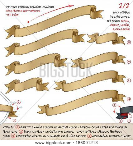 Vector illustration of age old papyrus or parchment ribbons. Set of two designs in four sizes each. Neatly layered and labeled to allow many variations and easy editing