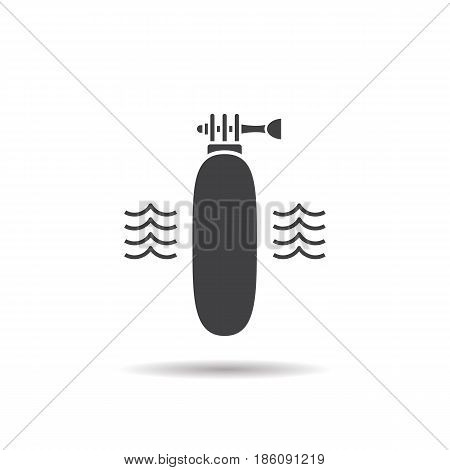 Floating action camera grip glyph icon. Drop shadow silhouette symbol. Negative space. Vector isolated illustration