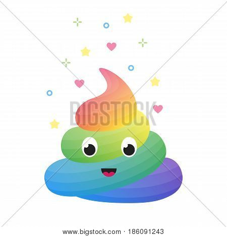 Colorful funny rainbow poop, cute excrement of unicorn isolated on white vector