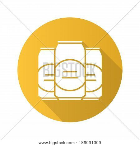 Beer cans flat design long shadow icon. Vector silhouette symbol