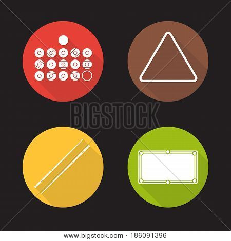 Billiard equipment flat design long shadow icons set. Billiard balls, table, cues and ball rack. Vector silhouette illustration