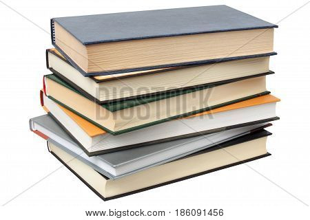 Short stack of books isolated on white background