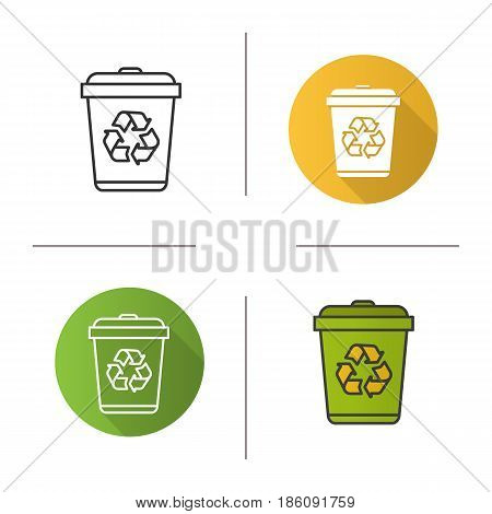 Recycle bin icon. Flat design, linear and color styles. Wastebasket. Isolated vector illustrations