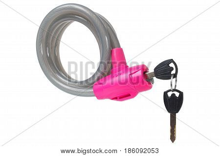Macro of bike lock with keys isolated on white background