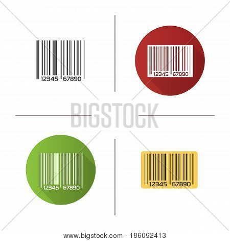 Barcode icon. Flat design, linear and color styles. Isolated vector illustrations