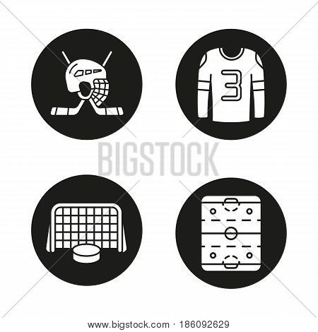 Hockey icons set. Sticks and helmet, rink, shirt, puck in gates. Vector white silhouettes illustrations in black circles