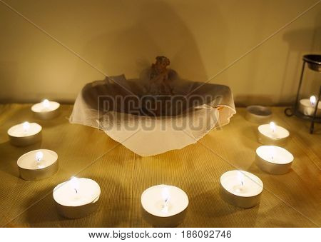 Candles on the altar, selective focus on candle