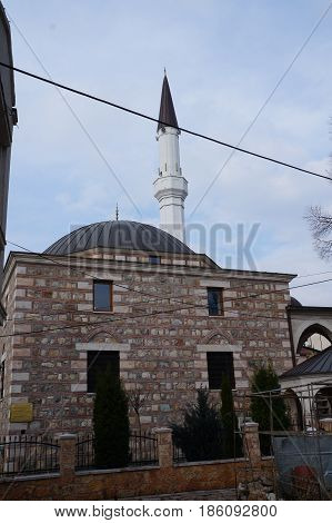 SKOPJE, MACEDONIA - MARCH 9, 2017:  15 century Mosque Jamia in Skopje, Macedonia Republic