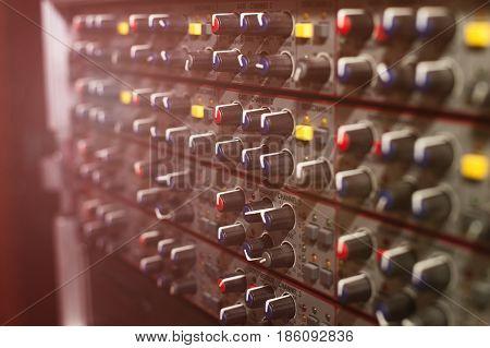 Sound recording studio, professional recording equipment, tumblers
