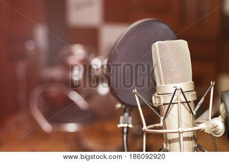 Microphone in a recording studio, professional recording equipment