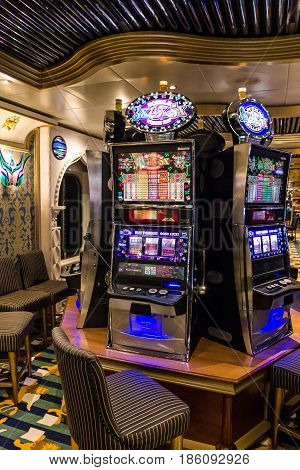 Cruise liner Costa Mediterranea - May 9, 2017: Gaming slot machines in gambling casino Cruise liner Costa Mediterranea