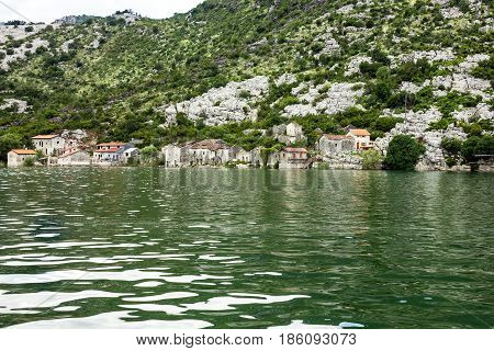 Landscape with fishers' houses on Skadar lake, Montenegro.
