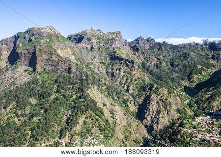 Madeira, Portugal Nun's Valley. Mountain scenery Eira do Serrado