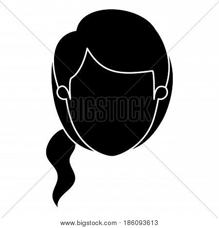 silhouette black faceless front view woman with side ponytail hair vector illustration