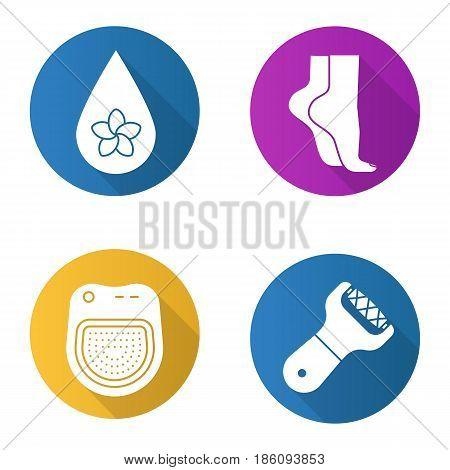 Spa salon flat design long shadow icons set. Aromatherapy oil drop, woman's feet, spa salon bath, foot file. Vector silhouette illustration