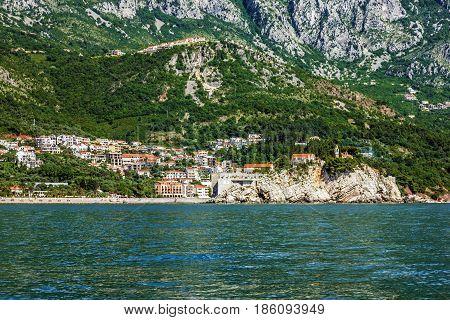 Houses and shore of Adriatic sea, Budva, Montenegro.