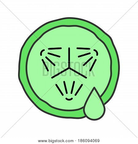 Cucumber slice with juice drop color icon. Spa. Cucumber facial mask. Isolated vector illustration