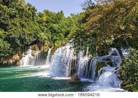 Croatia. Waterfall of Plitvice lake. Travel background.