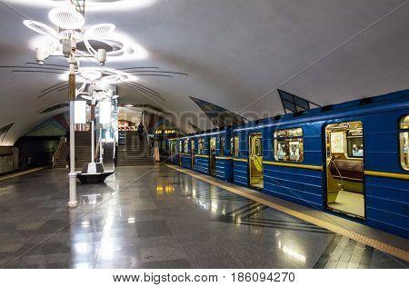Kiev, Ukraine - May 12, 2017: Subway train in Kiev - Station Teremki