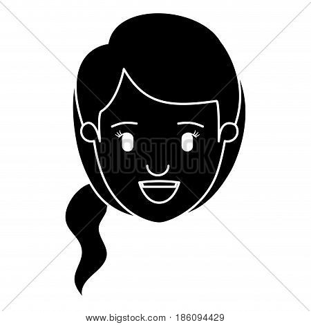 silhouette black front view face woman with side ponytail hair vector illustration