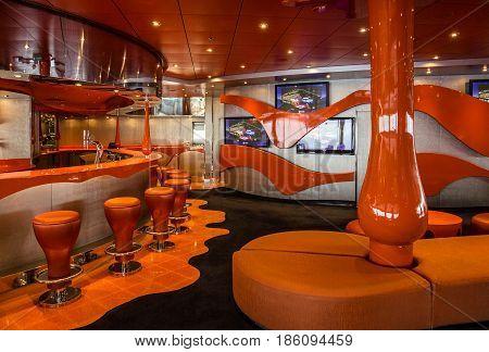 Cruise liner Splendida - May 12, 2017: Bar interior on cruise liner Splendida. Liquid discotheque.