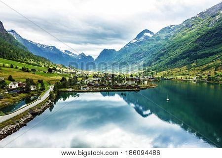Landscape with mountains in Norwegian village Olden in Norwegian fjords