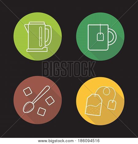 Tea flat linear long shadow icons set. Electric kettle, mug with teabag, teaspoon, sugar cubes. Vector line illustration