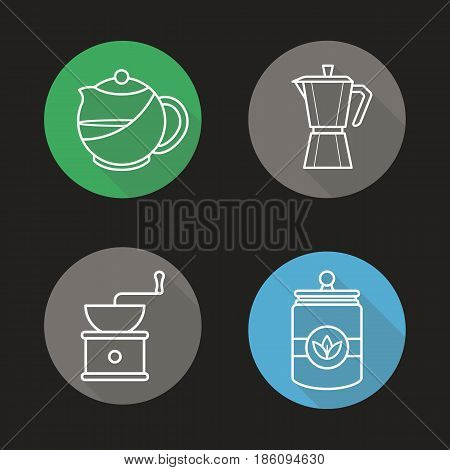 Tea and coffee flat linear long shadow icons set. Brewing teapot, classic coffee maker, vintage grinder, tea jar. Tea and coffee brewing equipment Logo concepts. Vector illustrations