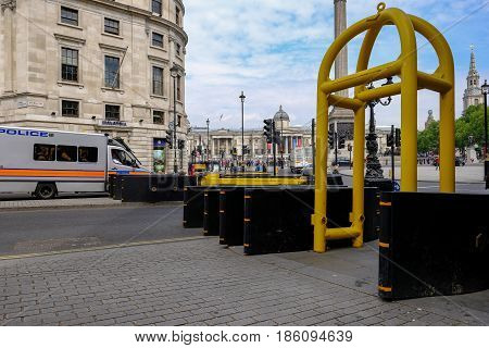 The Mall London England - May 11 2017: New barriers at the beginning of the Mall near Trafalgar Square. Pevention against terrorism.