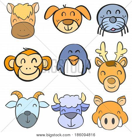Collection stock animal head funny doodle style vector