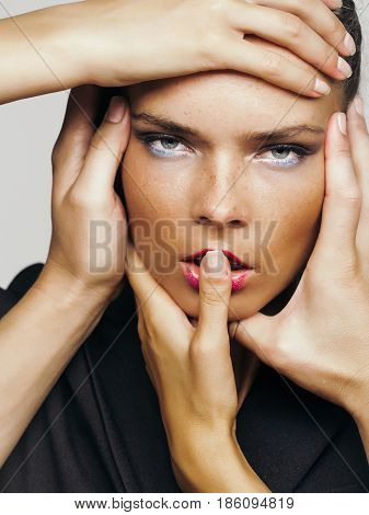 Hands Touching Adorable Face Of Pretty Girl