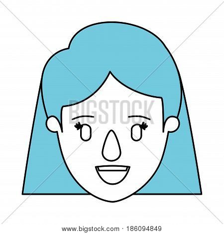 silhouette cartoon front view face closeup woman with short straight blue hair vector illustration