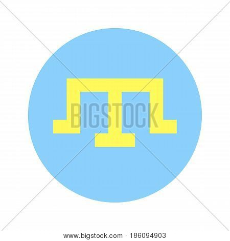 Flag crimean tatar people, vector illustration circular shape on white background