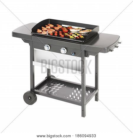 Barbecue Gas Grill With Food Isolated On White Background. Black Bbq Grill. Bbq Grillware Gas Grill.