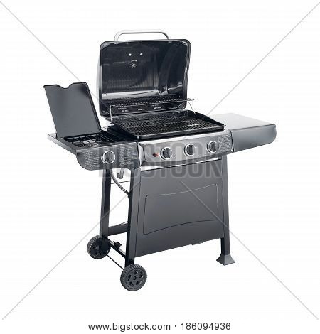 Bbq Grill Isolated On A White Background. Black Barbecue Gas Grill. Outdoor Cooking Station. Outdoor