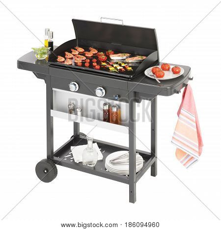 Bbq Grill With Food Isolated On White Background. Barbecue Gas Grill. Black Bbq Grillware Gas Grill.